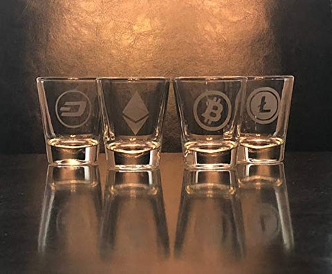 Cryptocurrency Shot Glass Set of 4 - Bitcoin - Ethereum - Litecoin - Dash - blockchain -Crypto Digital Currency