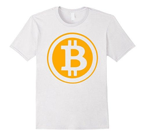 Mens Bitcoin Crypto Currency T-Shirt Medium White