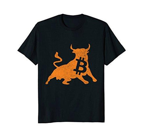 Mens Bitcoin Bull Crypto Currency Gift tee shirt Large Black