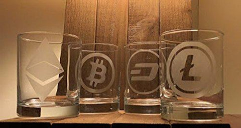 Cryptocurrency Rocks Glass Set of 4 - Bitcoin - Ethereum - Litecoin - Dash - blockchain -Crypto Digital Currency