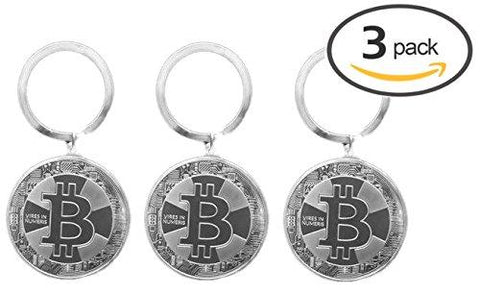 3-Pack Bitcoin Cryptocurrency Crypto Metal Keychain (Silver)