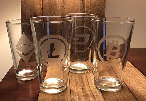 Cryptocurrency Pint Glass Set of 4 - Bitcoin - Ethereum - Litecoin - Dash - blockchain -Crypto Digital Currency