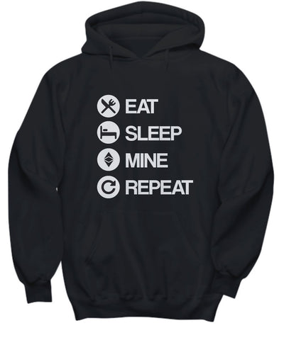 Candid Awe Eat Sleep Mine Repeat - Ethereum, ETH, Crypto, Ethereum Mining – Unisex Hoodie (Large)