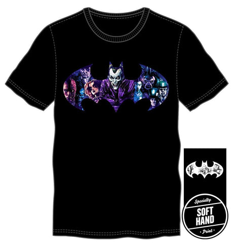 DC Comics Batman Joker and Villians Bat Specialty Soft Hand Print Men's Black T-Shirt