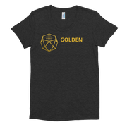 GOLDEN (GDN) Women's Black Tri-Oatmeal Crew Neck T-shirt