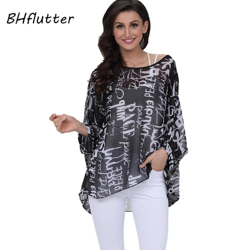 b4aac2d19bf ... BHflutter Women Tops Off Shoulder Sexy Summer Blouses 2019 New Arrival  Color Spliced Casual Loose Chiffon ...