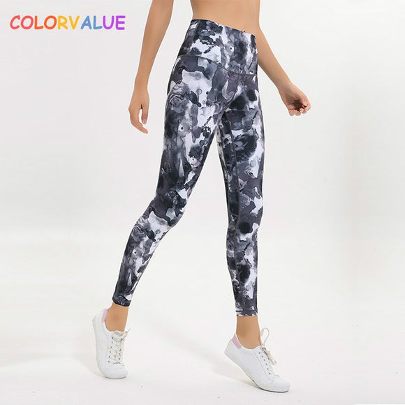 f54adc4643d18 Colorvalue New Soft Printed Fitness Gym Leggings Women 4-Ways High Stretchy  Sport Yoga Leggings