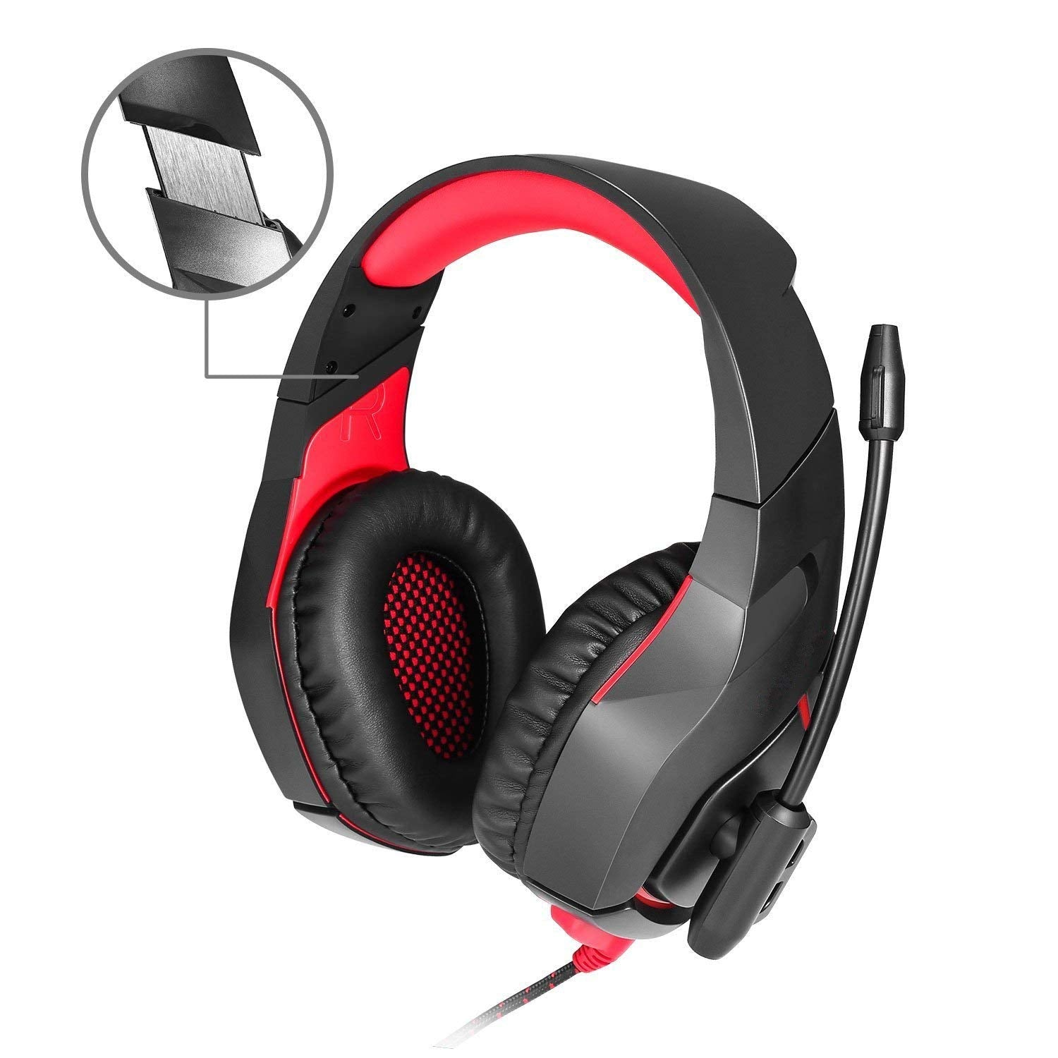 ONIKUMA Gaming Headset with Mic for PS4 PC Mac Laptop Tablet Xbox One,  Wired 3 5mm Jack 7 1 surround stereo, USB Powered LED D
