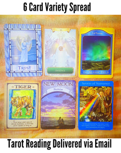 6 Card, Variety Spread, Tarot and Oracle Reading ,via Email, by Prism Gypsy
