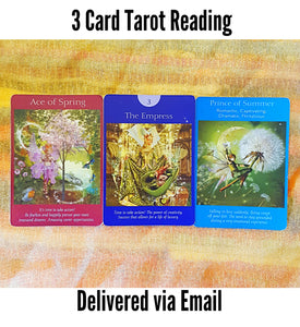 3 Card, Fairy Tarot Reading, via Email, by Prism Gypsy