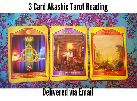 3 Card, Akashic Tarot Reading, via Email, by Prism Gypsy
