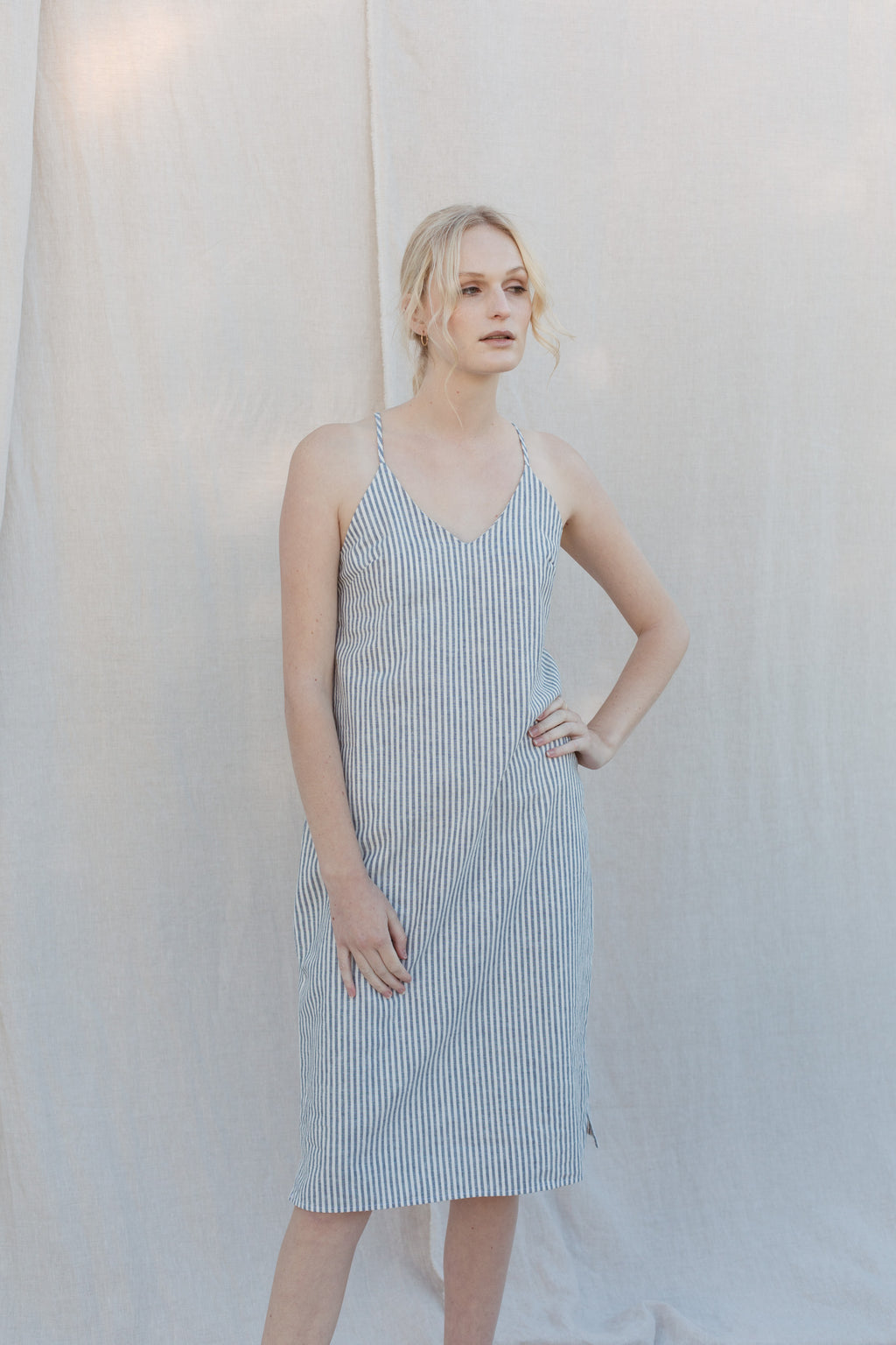 Luna Slip Dress - Blue/White Stripe