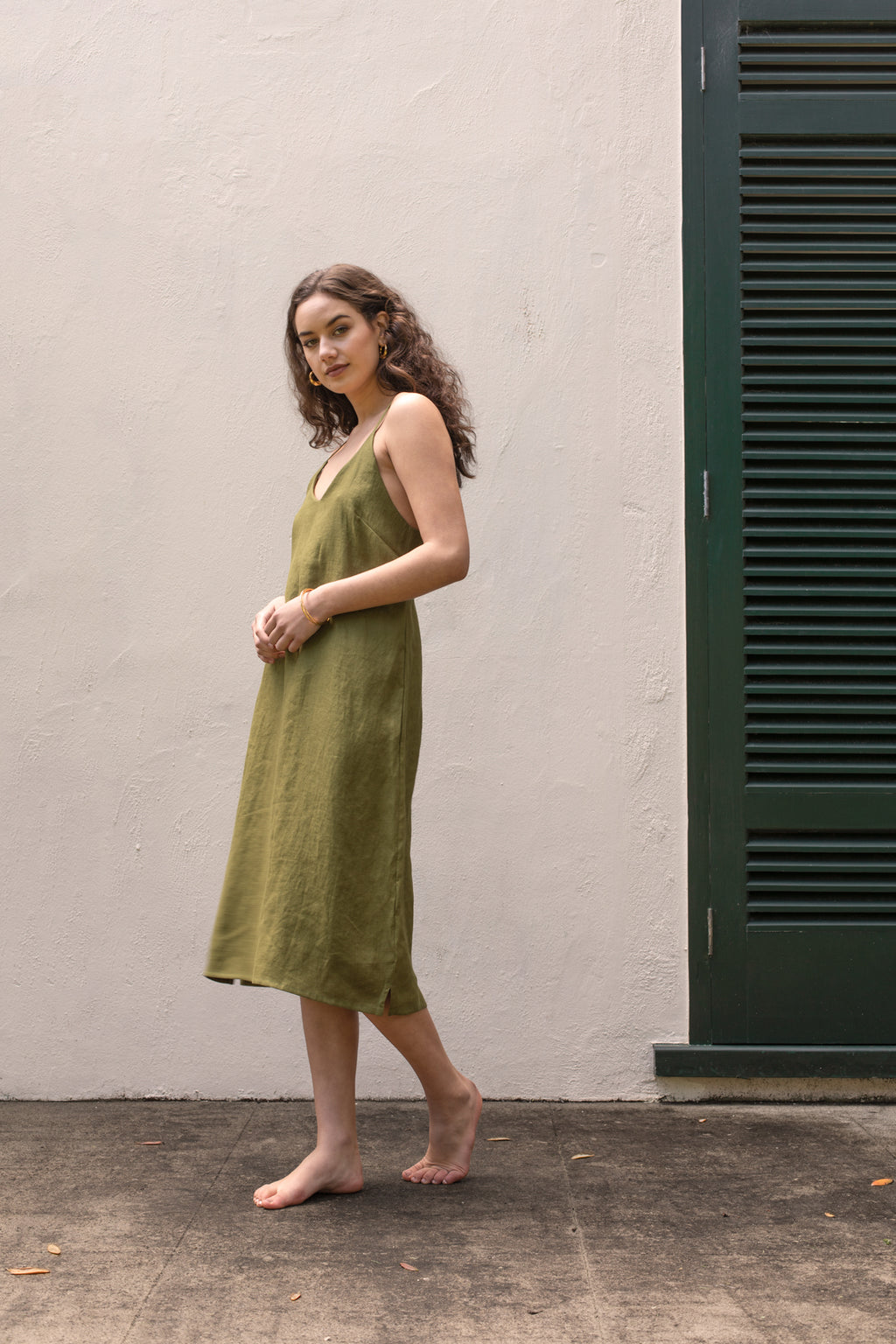 Luna Slip Dress - Green