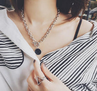 Neck Chain Round Marble Pendants Hiphop