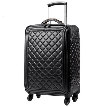High grade luxury Brand Rolling Luggage PU Leather 16/20' Cabin Suitcase Wheels