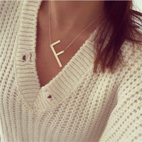 26 AZ letter necklaces for women punk long large letter pendant necklace