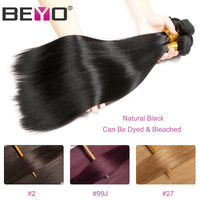 Straight Hair Bundles With Closure Brazilian Hair Weave Bundles 3 Human Hair Bundles With Closure Beyo Non Remy Hair Extension