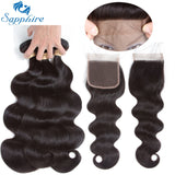 Sapphire Hair Brazilian Hair Weave Bundles With Closure Bundle With Lace Closure  Human Hair Body Wave Bundles With Closure