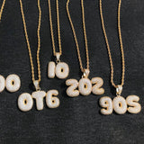 Custom Bubble Letters Chain Pendants Necklaces