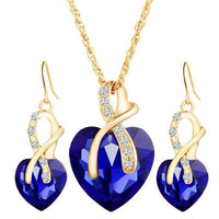Romantic Austrian Gold-color  Crystal heart shape Chain Necklace Earrings Jewelry Sets