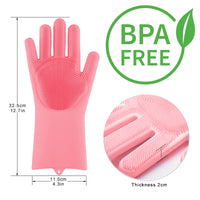 Magic Silicone Scrubber rubber Gloves  Cleaning 1 Pair