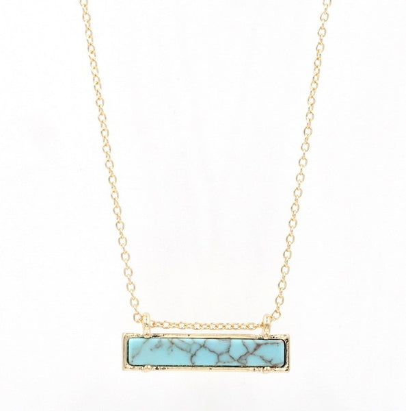 Geometric Resin Druzy Blue Marble Stone Bar Style Square Insert Choker Necklace Pendants