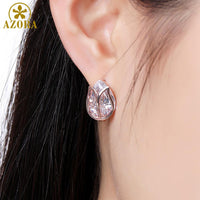 AZORA New Design Lotus Stud Earrings Crystal for Women Fashion Wedding Pear Cut Clear Cubic Zirconia Jewelry Accessories TE0311