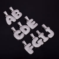 A-Z Custom Name Bubble Letters Necklaces & Gold Silver Hip Hop