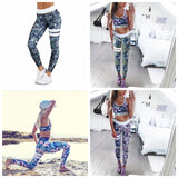 Printed Stretch Workout Pants High Waist Elasticity Running Tights Athletic Pro