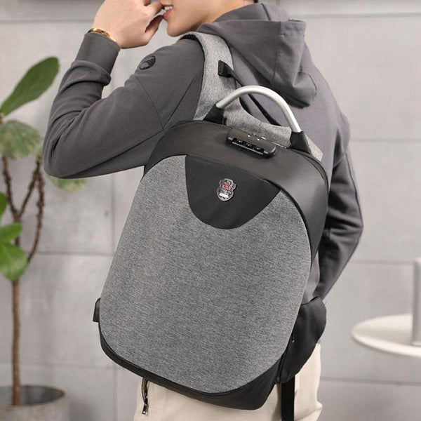 Men Backpack With USB Charging Headphone Interface Port Lock Business Travel Anti-Theft Backpacks