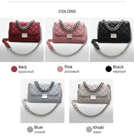 Brand Women 39S Shoulder bag Famous Designer Leather Ladies Fashion bag 2019 Evening Mini Chains Diamond Lattice Handbag