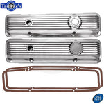 SBC LT1 Small Block Chevy Polished Aluminun Ribbed Valve Covers w/ Gaskets