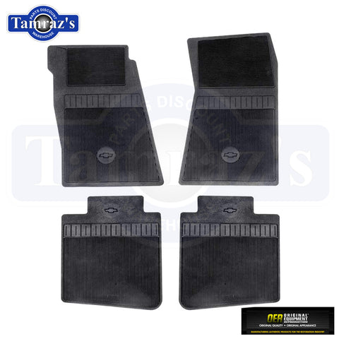 67-73 Camaro 68-74 Nova 4 Piece Bow Tie Logo Floor Mat Set Rubber BLACK OER
