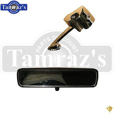 67  Mustang Inside Rear View Mirror Black back & Chrome Mounting Support Bracket