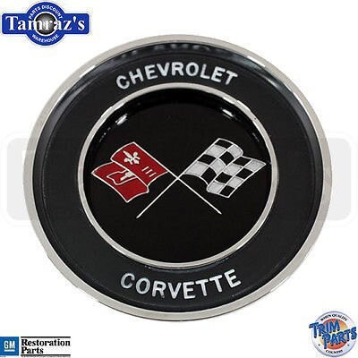 63-64 Corvette Steering Wheel Horn Cap Button Emblem Assembly  -  Made in USA
