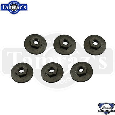 67-69 F Body Quarter Glass Window Track Guide to Body Mounting Stud NUT Set PAIR