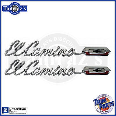 "1965 65 "" El Camino "" Quarter Panel Script Emblem Pair - Made in the USA"