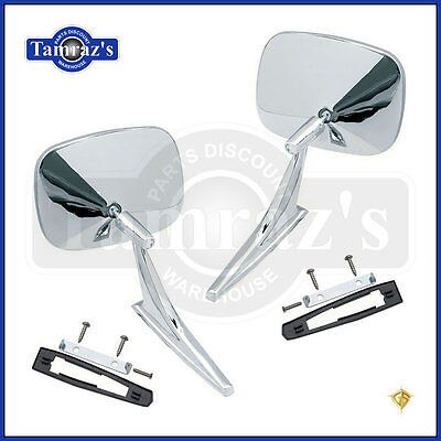 Chevy Chrome Rectangular Rear View SMOOTH Base Door Side Mirror & Hardware - PR
