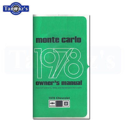 1978 Monte Carlo Owners Manual New