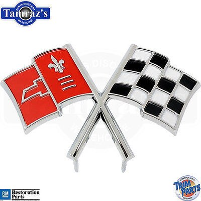 1965 Corvette Cross Flag X Front Nose Emblem correct bright red flag Made in USA