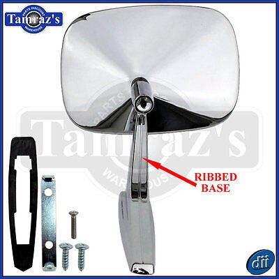 Chrome Rectangular Rear View RIBBED Base Door Side Mirror & Hardware - LH (Dii)