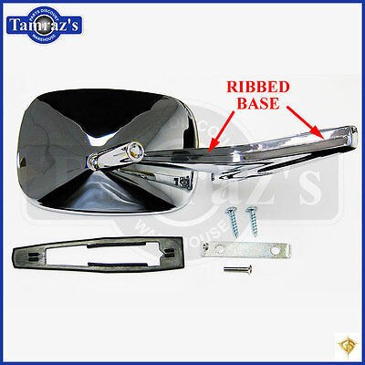Chevy Chrome Rectangular Rear View RIBBED Base Door Side Mirror & Hardware - LH
