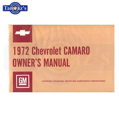 1972 Camaro Owners Manual New