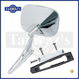 Chevy Chrome Rectangular Rear View SMOOTH Base Door Side Mirror & Hardware - RH