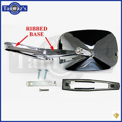 Chevy Chrome Rectangular Rear View RIBBED Base Door Side Mirror & Hardware - RH