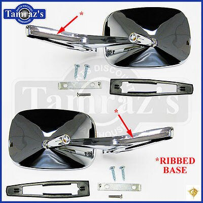 Chevy Chrome Rectangular Rear View RIBBED Base Door Side Mirror & Hardware - PR