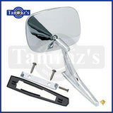 Chevy Chrome Rectangular Rear View SMOOTH Base Door Side Mirror & Hardware - LH