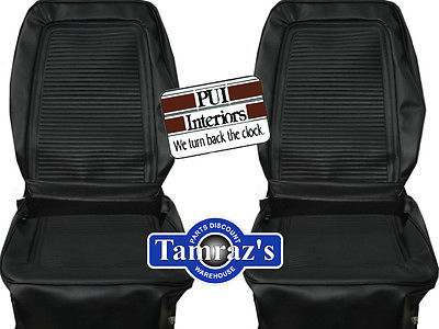 1964 1965 Barracuda Fastback Front Seat Upholstery Covers Black PUI New
