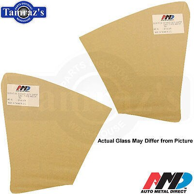 68-72 GTO LeMans COUPE Rear Quarter Window Glass Clear AMD - PAIR