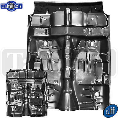 70-72 A Body 1pc. Full Floor Pan w/ Under Rear Seat Brackets Braces Supports Dii